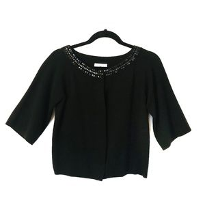 Ann Taylor LOFT Black Beaded Cropped Cardigan S